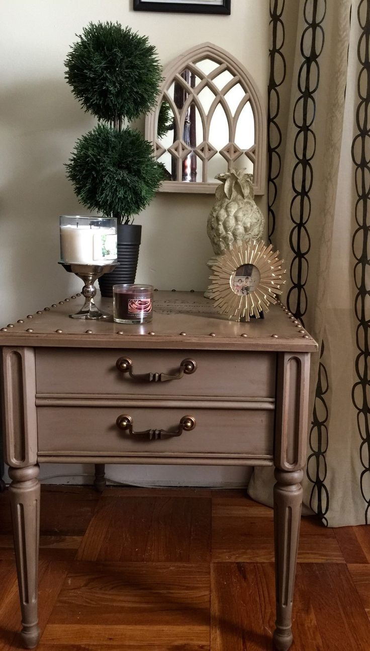 Vintage bedside table ideas - Vintage Wiod Side Table Hand Painted Annie Slaon Coco By Colorfulhomedesigns On Etsy