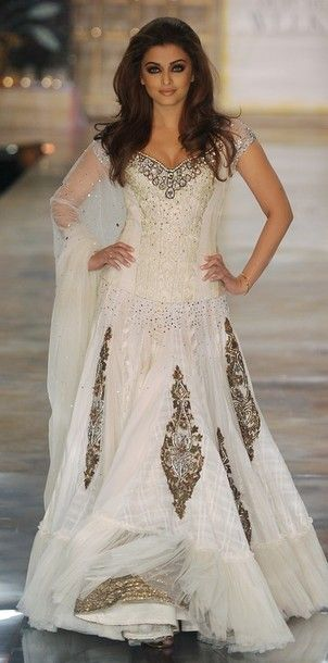 Indian inspired wedding gown Aishwarya Rai. #gown #wedding #dress #bridal