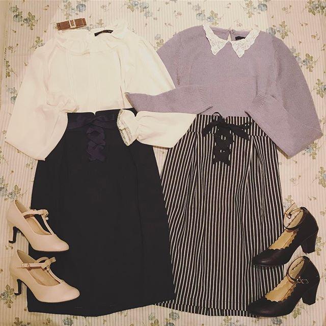 🎀EARLY SPRING🎀 デイリー使いにおすすめのタイトスカートが登場♡ デニム、ストライプでご用意しました。 ・ フロントレースアップタイトスカート/¥6,264 ・ ・ ・ #ananotherangelus #fint #アンジェラス #フィント #code #双子コーデ #instalike