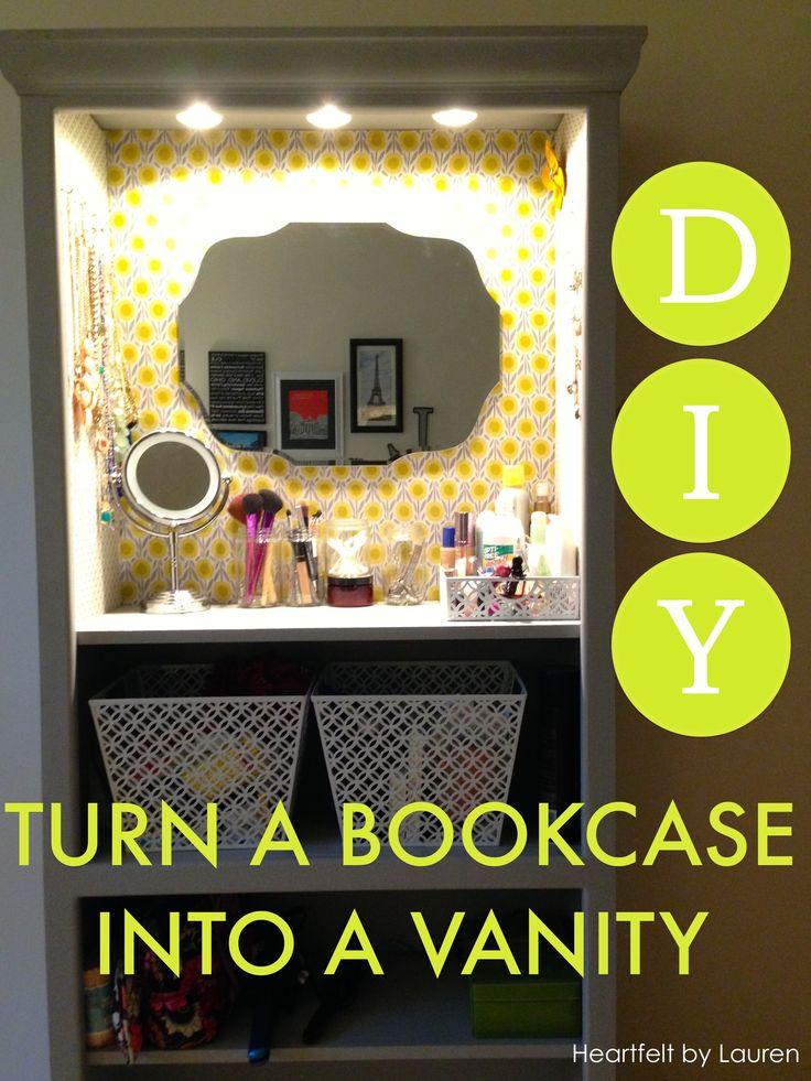 DIY Bookcase Vanity