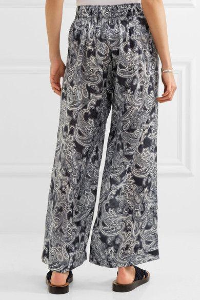 Acne Studios - Tennessee Printed Chiffon Wide-leg Pants - Navy