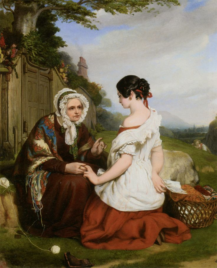 """Nicholas Joseph Crowley (1813-1857)  The Caution  Oil On Canvas  -1847  76 x 62 cm  (29.92"""" x 24.41"""")"""
