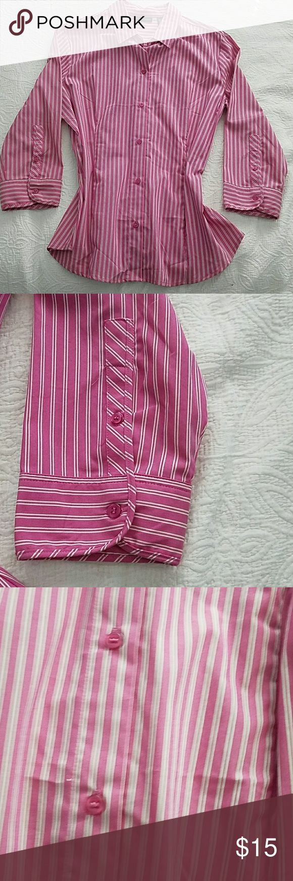 👜 NYCO Button Down Shirt XL Perfect for office or with jeans for casual look Hot pink shirt w/ white stripes New York & Company Tops Button Down Shirts