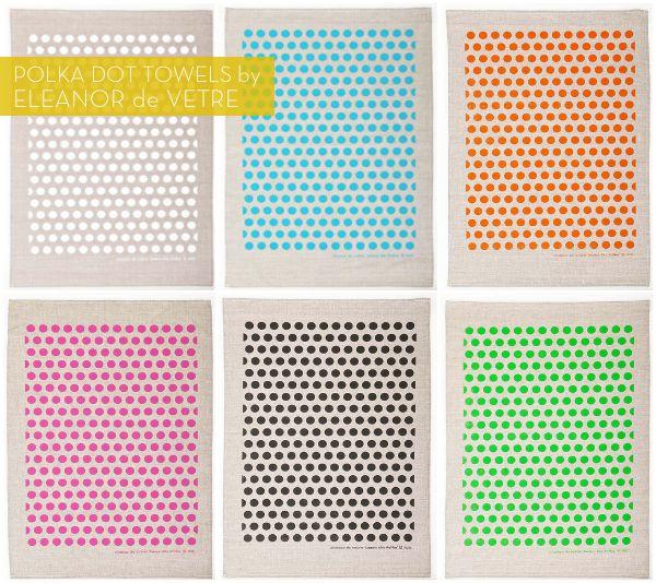 Polka dot tea towels from Eleanor de Vetre! // hat tip: @Kate @ Wit + Delight