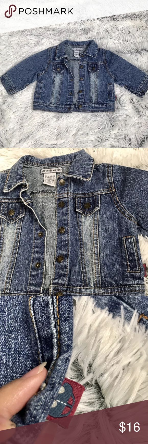 """Bowen and Wright Baby Denim Jean Jacket Beautiful, like new condition, Bowen and Weight baby denim jacket. Buttons have cute stats details. Jacket features two pockets. Color is a soft blue wash, almost vintage color. One fault is pictured - name """"Aaron"""" on tag. All buttons are snaps including sleeve button. **UPDATE: I've been able to remove most of the name from label and will upload comparison picture tonight. Bowen and Wright Jackets & Coats Jean Jackets"""