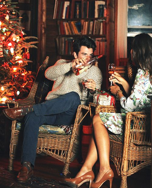 holiday date night by the christmas tree