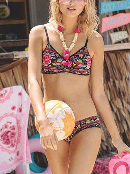Bohemian Style Pink Floral Print Bikini Set