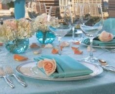 Blue and Peach Wedding Colors | Peach and Aqua wedding theme