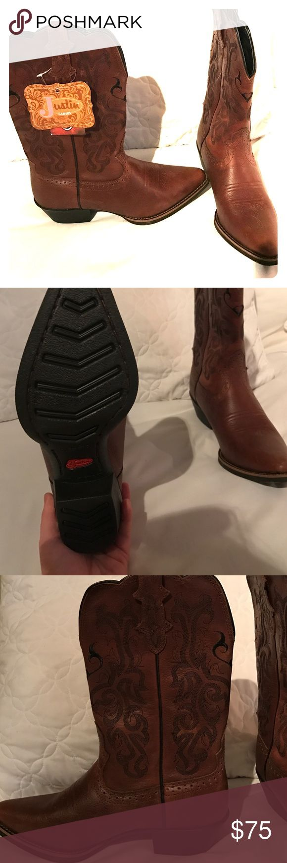 NWT Justin Ladies cowboy boots Brand new never worn Justin boots! They were a gift and are too big for me! Size 9.5 Justin Boots Shoes Ankle Boots & Booties