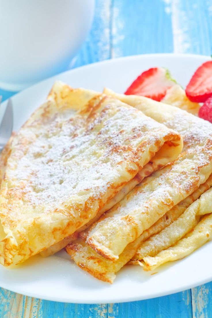 Basic Crepes: 1 C. all-purpose flour; 2 eggs; 1⁄2 C. milk; 1⁄2 C. water; 1⁄4 t. salt; 2 T. butter, melted____ Whisk together flour and eggs. Gradually add in milk and water, stirring to combine. Add salt and butter; beat until smooth. For best results, refrigerate for 1 hour or overnight. Heat a lightly oiled nonstick pan over medium-high heat. (For dessert crepes, add 2 tsp sugar to the mix.)
