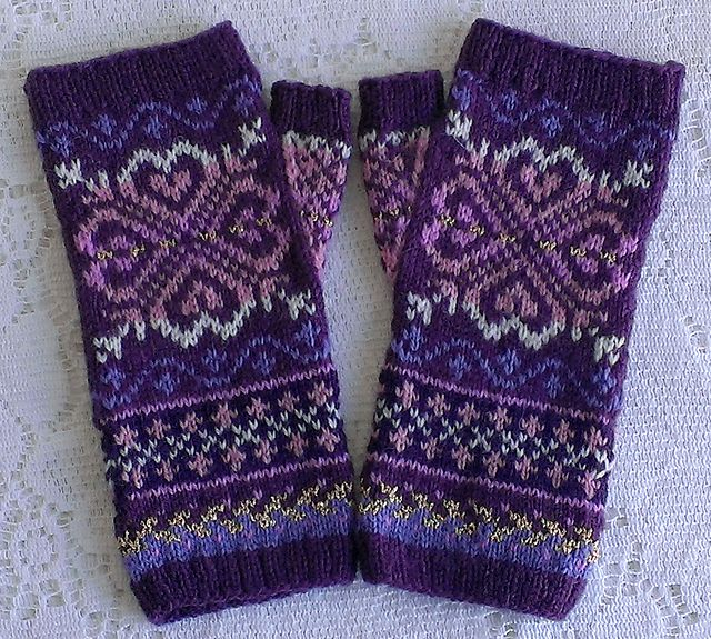 Ravelry: SweaterGoddess' Lunaria Mitts - Purple