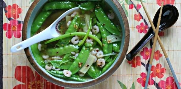 Quick Shrimp and Snow Pea Soup with Ginger -- really quick!