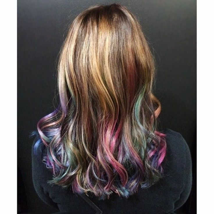 "Lindsay K on Instagram: ""Oil Slick for the awesome @heidebee! #oilslick #oilslickhair #rainbowhair #pravana #mermaidians #unicornhair #vivids #brighthair"""