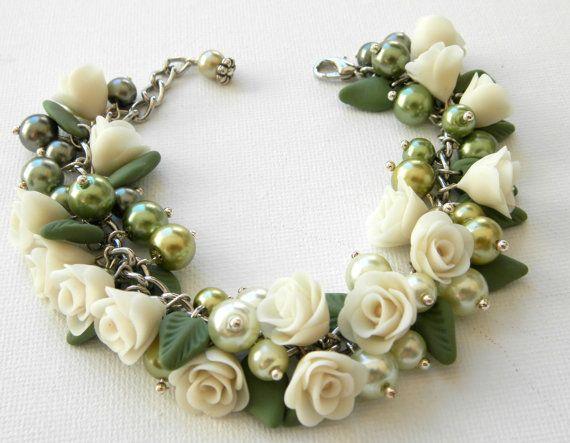 Olive green bracelet Pearl bracelet  Handmade bracelet  by insou, $45.00
