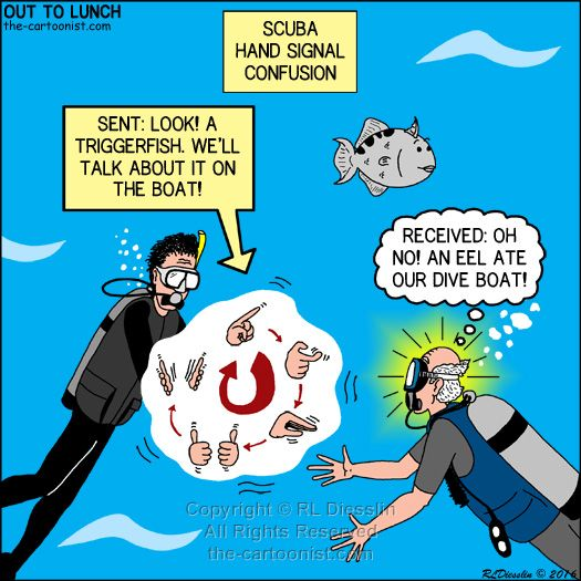 SCUBA Hand Signal Confusion Out to Lunch Cartoon, SCUBA, hand signals, communications, triggerfish, ocean, sea, confusion