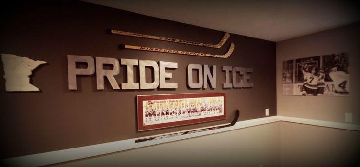 $2 Cardboard Letters Spray Painted with Rustoleum Pewter Spray Paint / Minnesota Gopher Hockey Room Decor