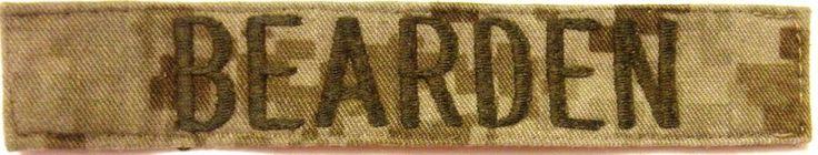 Military Name Tape -  U S Army - Desert Camo -  Name  BEARDEN  -  Used