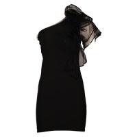 Jurk Clichet is een kort a-symetrisch zwart jurkje. Opvallend detail bij dit jurkje is het grote rozet van tule dat naar beneden doorloopt over de borst. Aan de bovenzijde heeft de jurk een tule randje en ook de linkermouw is gemaakt van tule. Jurk Clichet is een prachtig jurkje voor een bruiloft maar natuurlijk is dit jurkje ook geschikt voor andere feestjes. Dit is een kort aansluitend jurkje.