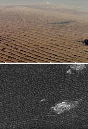 """Cassini radar sees sand dunes in Belet on Saturn's giant moon Titan (lower photo) that are sculpted like Namibian sand dunes on Earth (upper photo). The bright features in the lower radar photo are not clouds but topographic features among the dunes. (Credit: NASA/JSC - uppper photo; NASA/JPL - lower photo) Mona Evans, """"Titan - Planet-sized Moon of Saturn"""" http://www.bellaonline.com/articles/art182860.asp"""