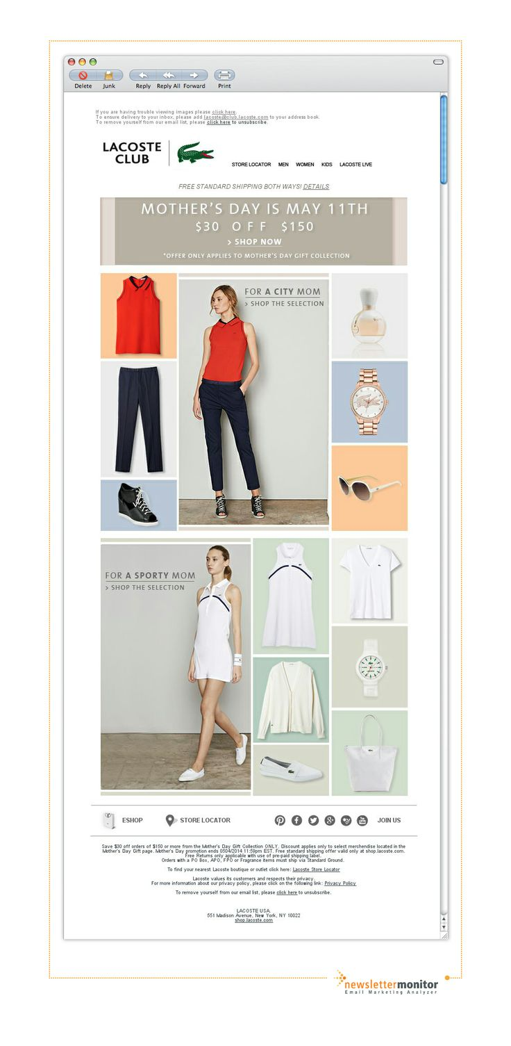 Brand: Lacoste | Subject: $30 off Mother's Day Gift Collection + Free Shipping