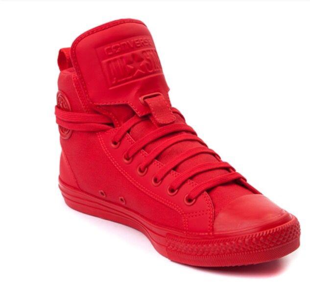 RED monochrome Converse Chuck Taylor guard high sneaker!