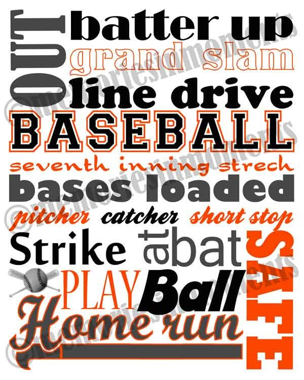 Perfect for his room!! Baseball Subway Art - Orange and Black. $5.00, via Etsy.