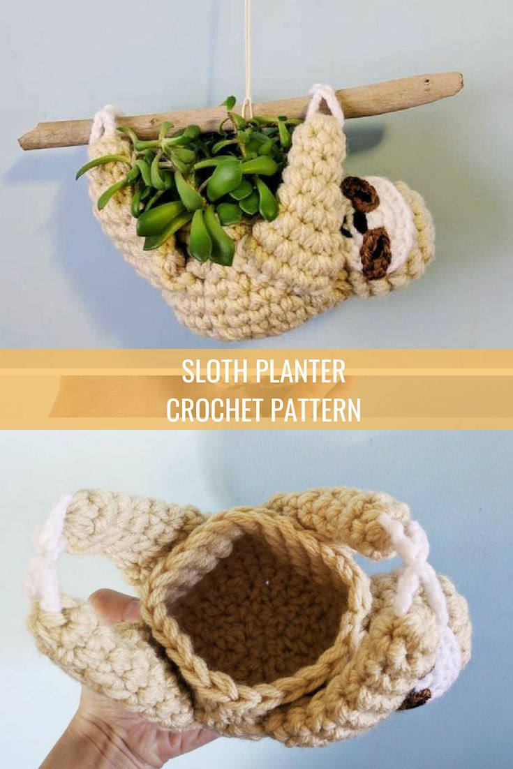 Sloth planter crochet pattern, mini succulent planter, hanging crochet planter, …