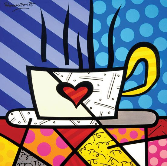 This image keeps to the pop art bold colours and uses an everyday object. ROMERO BRITTO - 2012