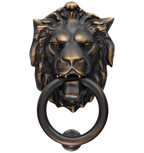 Lion Door Knocker @ Rejuvenation for $139.00  I'm in LOVE with this lion door knocker and have wanted a lion one since I was a kid.  WILL get this for a future door or next house since I don't think that there is a place to mount it on our current door.