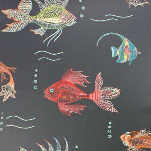 Le papier-peint Aquarium de Nina Campbell : Une fantastique scène sous-marine imprimées dans des tons précieux et multicolores...