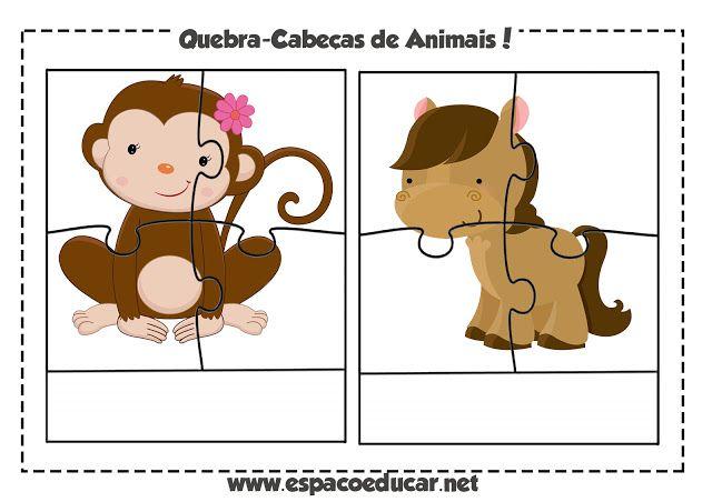 ESPAÇO EDUCAR: Jogo educativo grátis: quebra-cabeça de animais para imprimir e escrever!