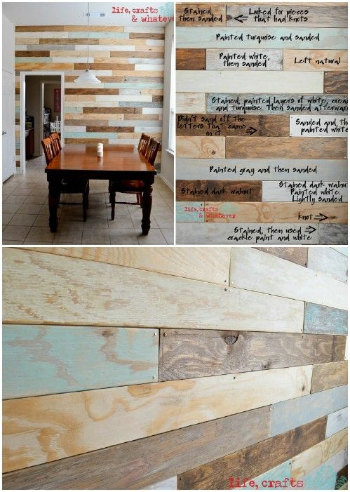 Plank Wall - for back wall and breakfast bar...no teal, just neutrals, gray wash and white wash planks