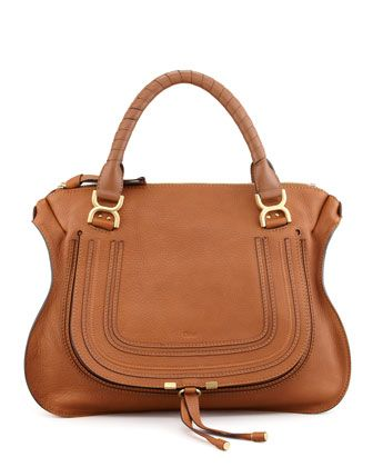 Marcie+Large+Leather+Satchel+Bag,+Tan+by+Chloe+at+Neiman+Marcus.