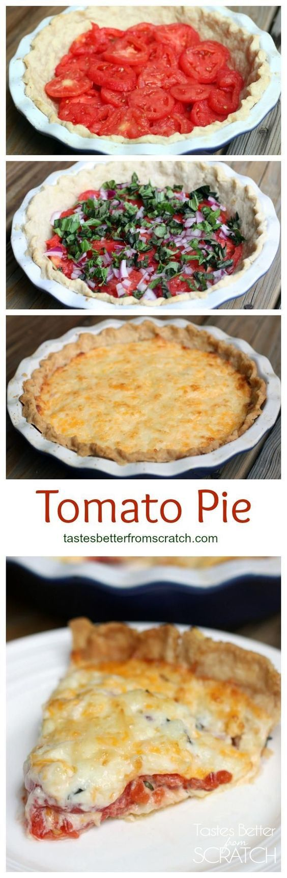 Tomato Pie- a savory summertime pie with layers of fresh tomatoes fresh basil and a delicious cheese mixture.