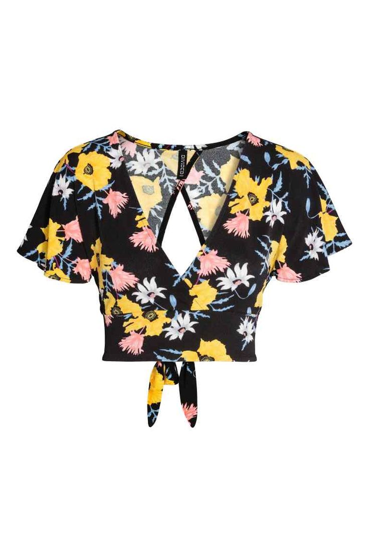 Kısa Üst - Siyah çiçekli - Ladies   H&M TR