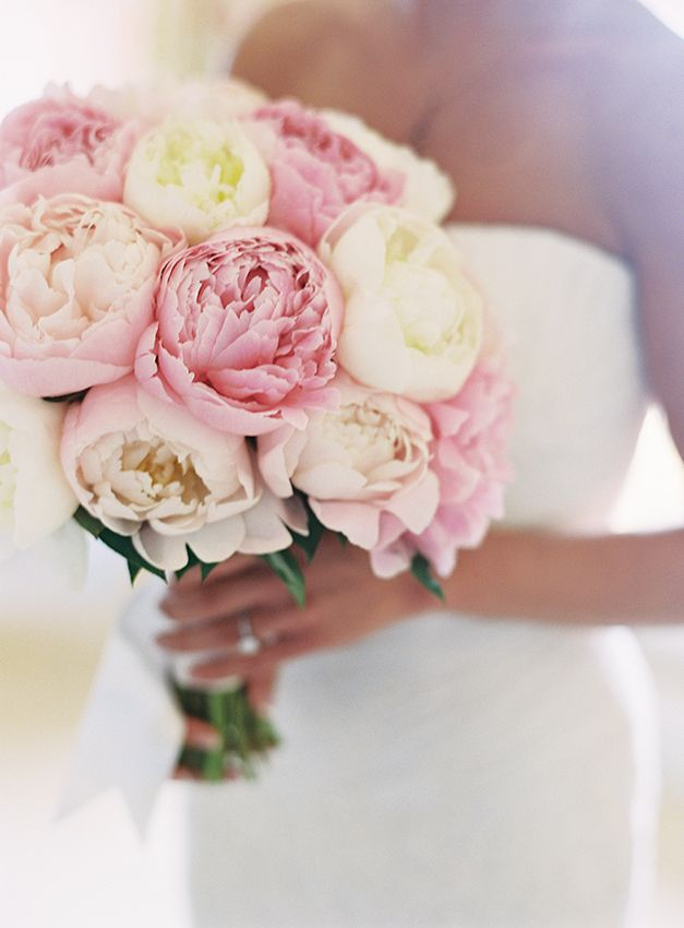 Cream and pink peony bouquet