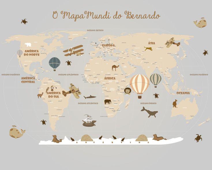 Mapa Mundi Infantil Adesivo Papel Parede  Geografia  Pinterest