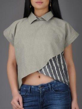 Grey-Ivory Ikat Khadi Cotton Kimono Wrap Top