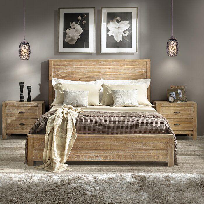 Montauk Standard Bed Solid Wood, Grain Wood Furniture Montauk Queen Solid Panel Bed Rustic Walnut