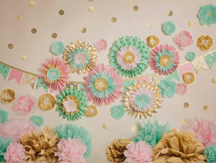 Gold, mint & pink party decor.... so pretty!!!!