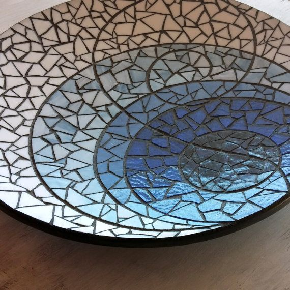 """""""The Blues"""" stained glass mosaic platter"""