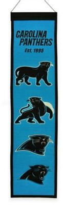 $29.99 - NFL Carolina Panthers Heritage Banner - Display your team pride on the wall with this unique NFL Heritage Banner that chronicles the evolution of your favorite team. Comes ready to hang.