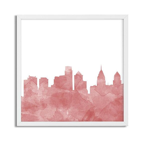 Philadelphia Watercolor Skyline Print Philly Wall Art Etsy Etsy Wall Art Gallery Wall Prints Printable Wall Art
