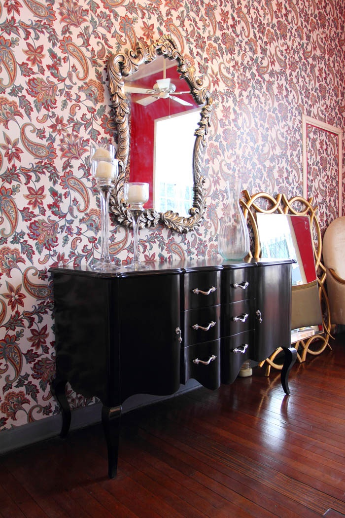 Patterned Wallpaper Paired With Ornate Furniture At More Than A Chair Featured In Real Living MagazinePhilippines