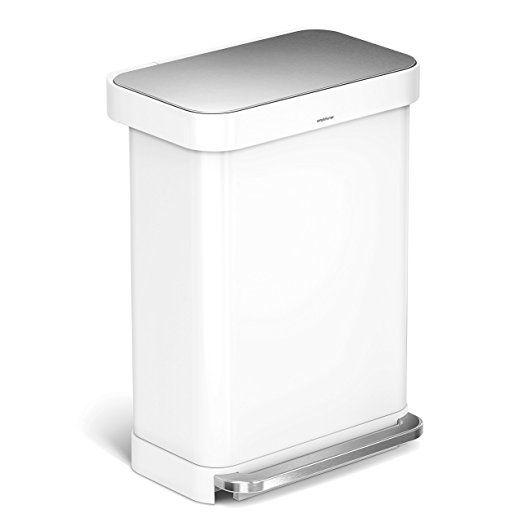 simplehuman 55 litre rectangular pedal bin with liner pocket, white steel
