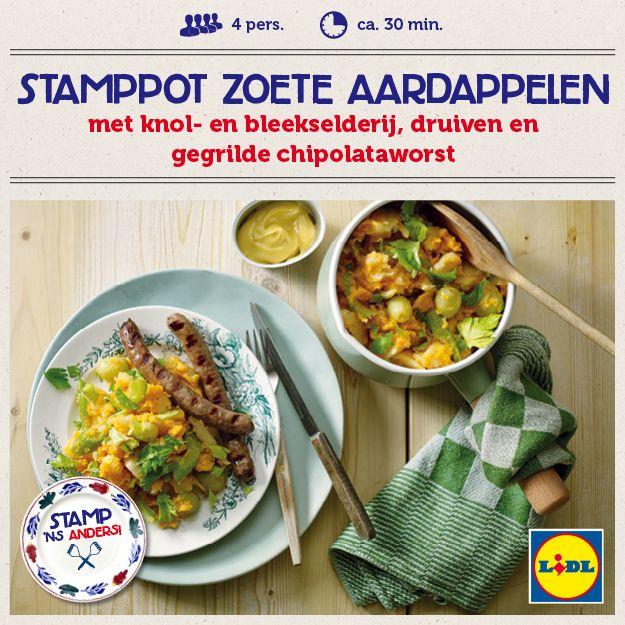 Recept voor stamppot zoete aardappelen met knolselderij, bleekselderij, druiven en gegrilde chipolataworst #Lidl #Stamppot