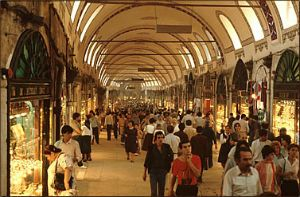 The Grand Bazaar in Istanbul is one of the largest and oldest covered markets in the world, with 61 covered streets and over 3000 shops.  http://www.privatetour.net/tours/istanbul-tours