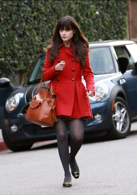 <3 Zooey Deschanel's outfit the red coat is awesome totally cute for Fall
