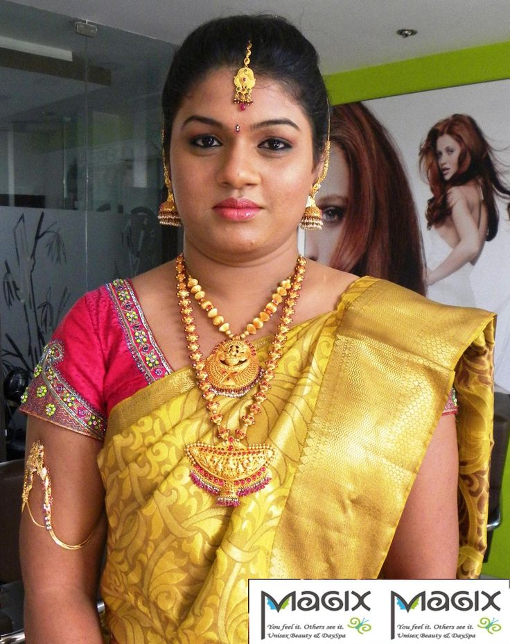 south indian bride wearingtraditional haram and necklace @ varapooje, bridal makeover by magixspa.