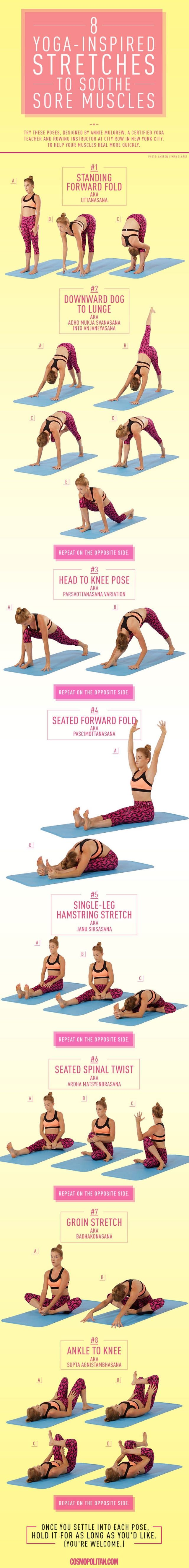 Say hello to yoga for sore muscles. Transform yourself